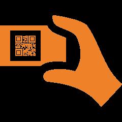 icone de QR code et main
